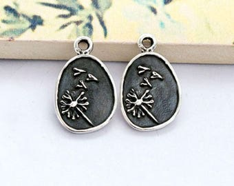 2 of 925 Sterling Silver Dandelion Charms 10x12mm . , Oxidized Finish.  :tm0168
