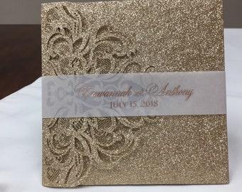 Glitter tri-fold laser cut wedding invitations glitter pockets glitter jackets laser cut glitter sweet 15 quinceanera sweet 16 formal invite