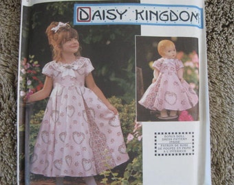 "UNCUT FF 90's Daisy Kingdom Girls Dress and Doll Dress for 18"" Doll / Simplicity 9097 Size 3, 4, 5, 6 Chest 22 - 25"