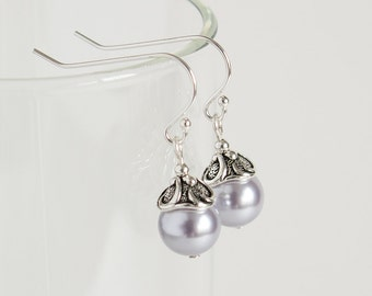 Lavender Pearl Earrings, Purple Earrings, Women Jewelry, Classic Earrings, Sterling Silver Earwires