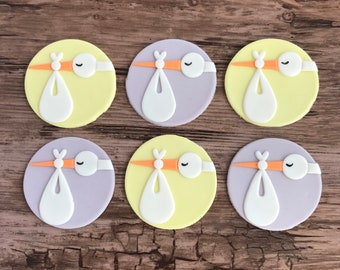 Stork Fondant Cupcake Toppers