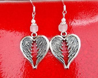 White Angel Wing Heart Earrings, White Angel Wings Sterling Silver Earrings, White Wings Earrings, Wings Sterling Silver Earrings
