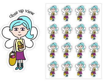Shopping Fairy Planner Stickers, Shopping Planner Stickers, Fairy Stickers, EC Planner Stickers, Sticker Fairy, Time To Go Shopping