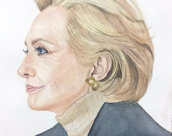 Hillary Clinton Painting, First Lady Painting, Hillary Clinton Watercolor, Clinton Painting, Clinton Watercolor