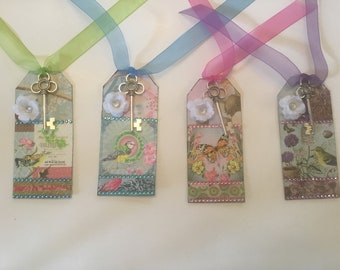 """Set 4 Hand Made Blinged Any Occasion Gift Tags Cards Birds & Butterflies 2"""" x 4.5""""  No. 2"""