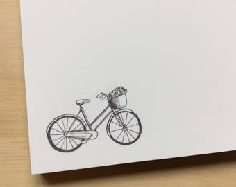 vintage sketch bicycle notepad, stationery, bike notepad, to do list