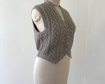 Vintage Lands End Tan Wool Cable Knit Sweater Vest SZ S