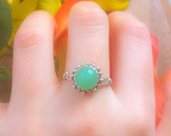 Chrysoprase Ring, Vintage Rings, Chrysoprase, Solid Silver Ring, Green Stone Ring, Vintage Ring, Spring Ring, Matching Set