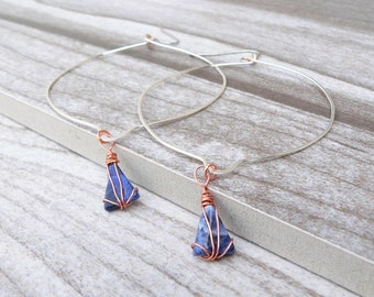 Sodalite Hoop Earrings - Statement Earrings
