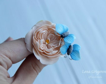 rose hairband, rose hairclip, gift for her, rustic style, bride jewelry, bridesmaids gift, butterfly bride , butterfly jewelry, butterfly