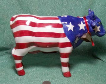 Patriotic Bull Bank / Red White and Blue / Piggy Bank