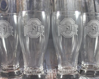 Ohio State Pub Glass - Officially licensed Ohio State Athletic Logo Pub Glass Set of 4