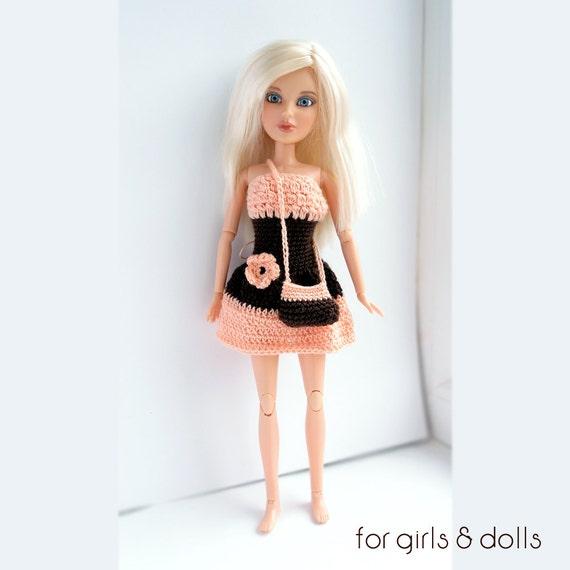 Pfirsich und braun Barbie Kleid gehäkelte Barbie Kleidung
