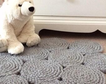 Grey Nursery Rug, Handmade Crochet Rug, Accent Rug, Baby Room Rug, Nursery Decor, Ready to Ship
