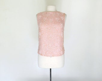 PINK CHAMPAGNE // 60s beaded sequined shell / M