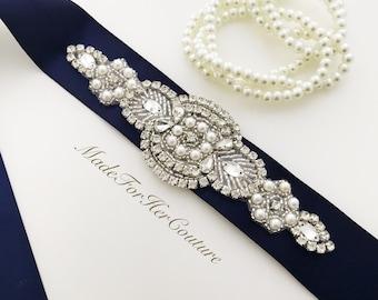 Navy Wedding Belt, Wedding Sash, Wedding Dress Sash, Navy Bridal Belt, Bridesmaid Sash, Bridesmaid Belt, Wedding belts