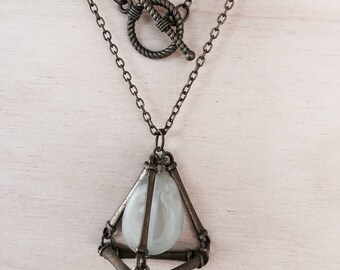 Beaded Prism Cage Pendant Necklace