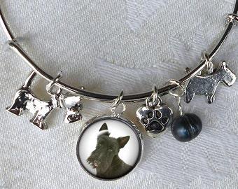 Custom Pet Charm Bracelet ~ Girlfriend Gift ~ Dog Bracelet ~ Sweetheart Birthday ~ Wire Bangle ~ Pet Jewelry ~ Dog Jewelry