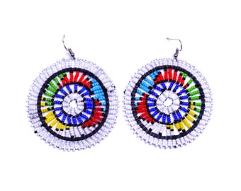 Maasai Disc In White Earrings