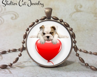 "Bulldog Valentine Necklace - 1-1/4"" Circle Pendant or Key Ring - Puppy on Heart - Holiday Present or Gift for Dog Lover"