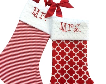 Traditional Stocking, Red And White Christmas Stockings Moroccan, Quatrefoil Stocking, Stripe Personalized Christmas Stockings