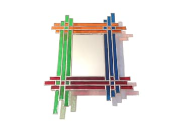 Stained Glass Mirror - Woven - 34cm x 25cm - 4 Colour Mirror - Colourful Mirror - Bright Colour - Bright Mirror - Made in Wales - Made in UK