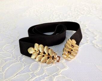 Black and gold elastic waist belt. Gold leaf belt. Grecian style skinny waist belt. Dress belt. Greek belt. Gift for her.
