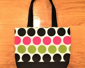 Fabric handbag, Polka dot tote bag, black and pink tote bag, canvas tote bag, shopping bag, shoulder bag,  tote bag canvas, fabric tote