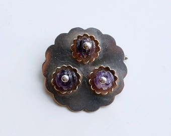 1940s Loyola Fourtane sterling and amethyst brooch / vintage studio jeweler artisan pin / 40s silver and purple flower stone collectible pin