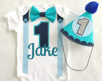 Baby Boys First Birthday Outfit  Blues Theme Bow Tie & Party Hat 1st Birthday Bodysuit Romper