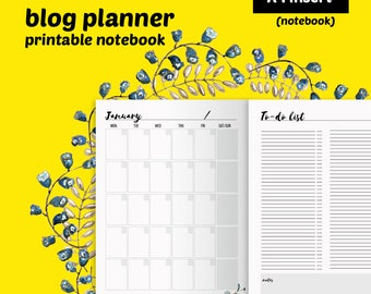 Blog planner printable insert notebook - blog management insert - instant download ready to use printables - perpetual A4 blog planner