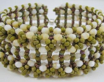 Soft Tahitian Dreams Right Angle Weave Cuff/Bracelet (2591) - A Sand Fibers Creation