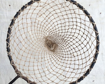 RESERVED // vintage hand-tied fishing net w. cast iron frame