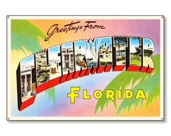 Clearwater Florida fl Old Retro Vintage Travel Postcard Reproduction Metal Sign Art Wall Decor STEEL not tin 36x24 FREE SHIPPING