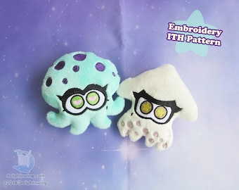 Lil Squid and Octopus Friends ITH Embroidery Pattern | Plushie In The Hoop Pattern Embroidery File Squid Plush Octopus Plush