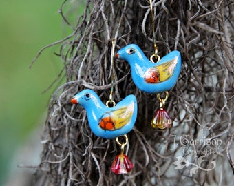 French bluebird earrings - teal, orange & yellow birds and flowers on gold -Free Shipping USA