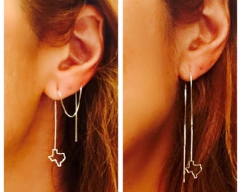 Texas thread dangle earring pair