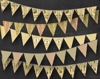 Editable Alice in Wonderland Bunting - Printable Tea Party Drink Me Alice Illustrations Parchment Ornate and Stripes Banner Instant Download