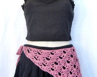 Mauve Pink Crochet Hip Scarf,  Triangle Hip Scarf,  Boho Skirt Scarf, Skirt Accessory, Swimsuit Cover Up