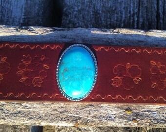 Sierra Cuff, leather cuff, turquiose bracelet