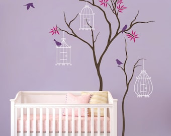 """Baby Nursery Wall Decals Tree Wall Decal Birdcage Wall Art Mural Sticker Decal - Large: approx 86"""" x 51"""" - KC011"""