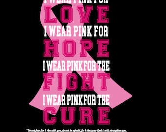 I Wear Pink FOR THE Love Fight Hope Cure cancer ribbon SVG football October Awareness