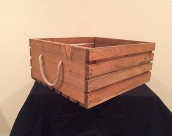Handmade Wooden Crate with rope handles - Small