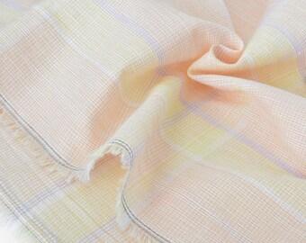 Fabric cotton woven Plaid pink vanilla x 50 cm