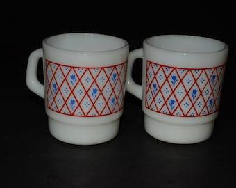 2, Milk Glass, Termocrisa, stackable mugs, Coffee mugs, Tea Cups, Mexico, 1960s, C handle, Milk glass, crisscross pattern, blue flower