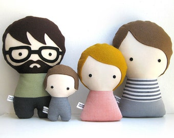 Handmade Personalized Family with child and baby. Plush doll. Custom your own family.