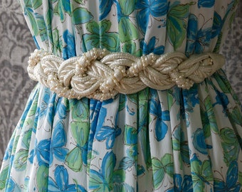 vintage 1980s braided white belt <> 80s braided rope belt with pearls