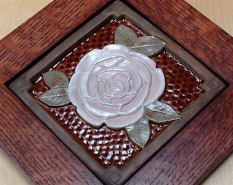 "Framed 6"" Rose tile Arts and Crafts framed tile/ Wall Art/decor/ Housewarming or Wedding Gift"