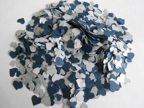 Over 2000 Mini Confetti Hearts. Navy & Silver. Weddings, Showers, Decorations. ANY COLOR Available.