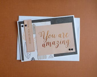 You Are Amazing Thankyou Card  FREE SHIPPING